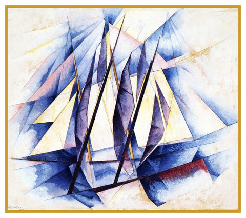 Sail in 2 Movements Precisionism Cubist by American Artist Charles Demuth Counted Cross Stitch Pattern