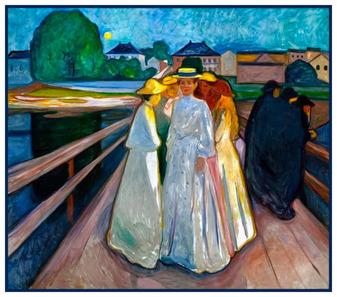 Ladies on the Bridge by Symbolist Artist Edvard Munch Counted Cross Stitch Pattern