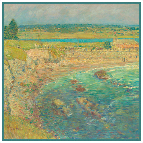 Baileys Beach Rhode Island by American Impressionist Painter Childe Hassam Counted Cross Stitch Pattern