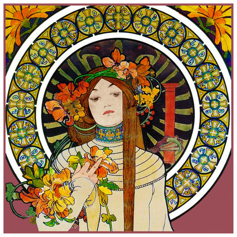 La Trapistine detail by Alphonse Mucha Counted Cross Stitch Pattern