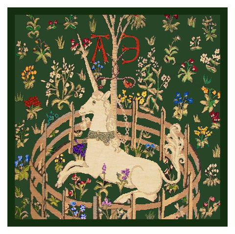 Detail of Unicorn in Captivity Green Background from The Hunt for the Unicorn Tapestries Counted Cross Stitch Pattern