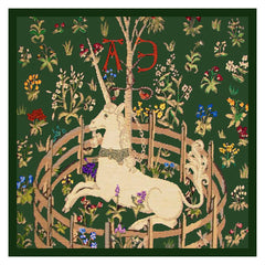 Detail of Unicorn in Captivity Green Background from The Hunt for the Unicorn Tapestries Counted Cross Stitch  Pattern - Orenco Originals LLC