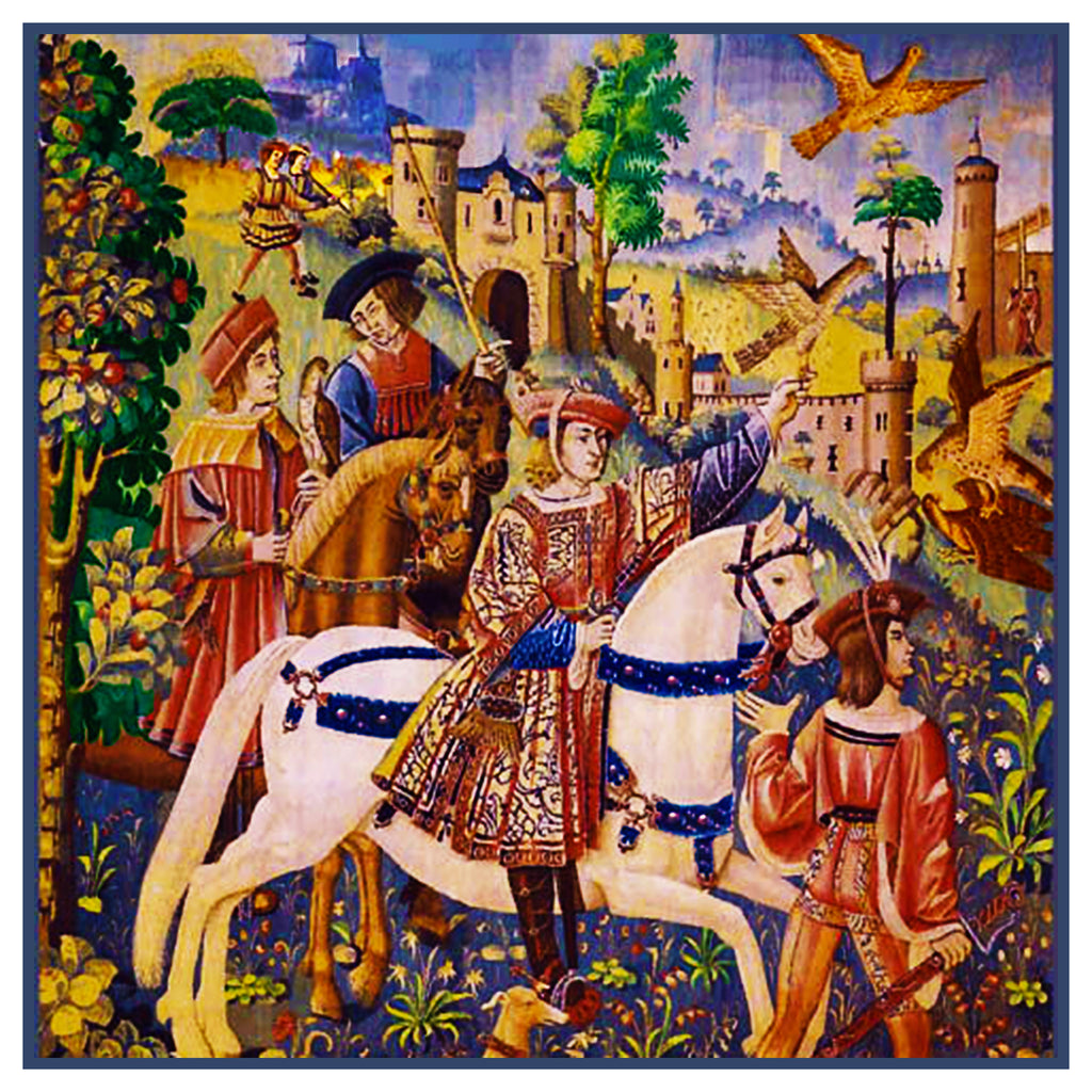 Departure for the Hunt From Medieval Tapestry Counted Cross Stitch or Counted Needlepoint Pattern - Orenco Originals LLC
