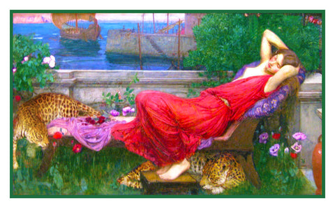 Ariadne inspired by John William Waterhouse Counted Cross Stitch or Counted Needlepoint Pattern