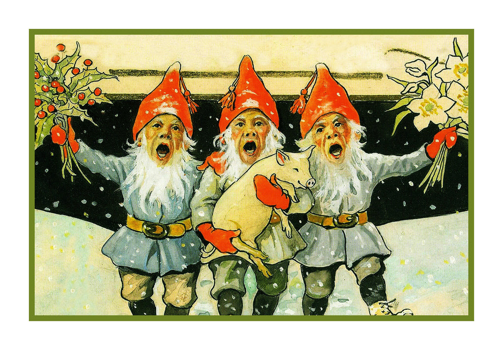 3 Elves Singing Celebrate Christmas Jenny Nystrom  Holiday Christmas Counted Cross Stitch  Pattern - Orenco Originals LLC