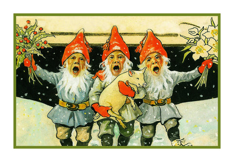 3 Elves Singing Celebrate Christmas Jenny Nystrom  Holiday Christmas Counted Cross Stitch or Counted Needlepoint Pattern