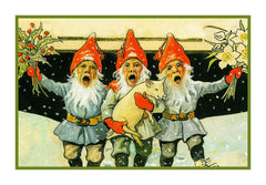 3 Elves Singing Celebrate Christmas Jenny Nystrom  Holiday Christmas Counted Cross Stitch or Counted Needlepoint Pattern - Orenco Originals LLC