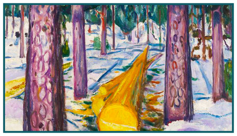 Yellow Log in the Forest by Symbolist Artist Edvard Munch Counted Cross Stitch or Counted Needlepoint Pattern
