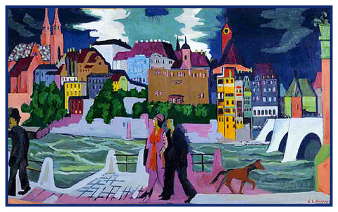 View of Basil and The Rhine River by Ernst Ludwig Kirchner Counted Cross Stitch Pattern