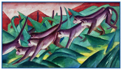Monkeys in the Jungle by Expressionist Artis Franz Marc Counted Cross Stitch or Counted Needlepoint Pattern