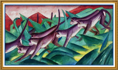 Monkeys in the Jungle by Expressionist Artis Franz Marc Counted Cross Stitch Pattern