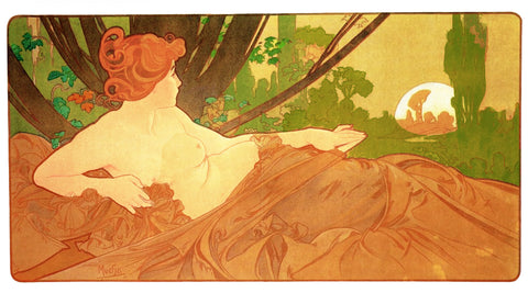 Dawn by Alphonse Mucha Counted Cross Stitch Pattern