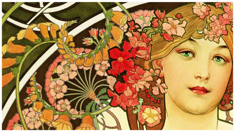 My Thoughts detail by Alphonse Mucha Counted Cross Stitch Pattern