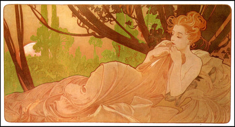 The Good Sleep detail by Alphonse Mucha Counted Cross Stitch Pattern