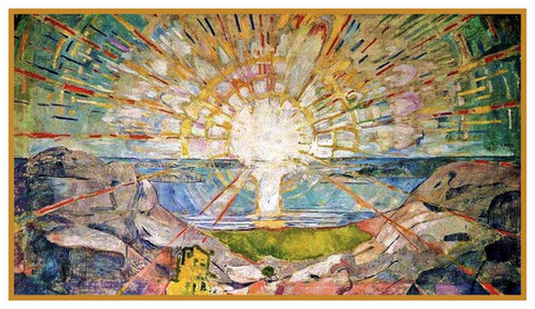 The SUN by Symbolist Artist Edvard Munch Counted Cross Stitch Pattern DIGITAL DOWNLOAD