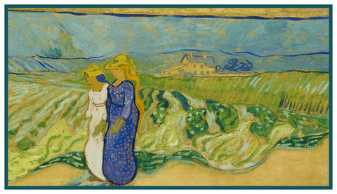 Women Crossing A Field by Vincent Van Gogh Counted Cross Stitch Pattern