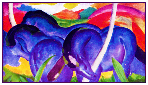 Big Blue Horses by Expressionist Artis Franz Marc Counted Cross Stitch Pattern