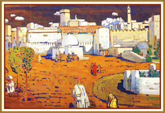 Arab City by Artist Wassily Kandinsky Counted Cross Stitch or Counted Needlepoint Pattern