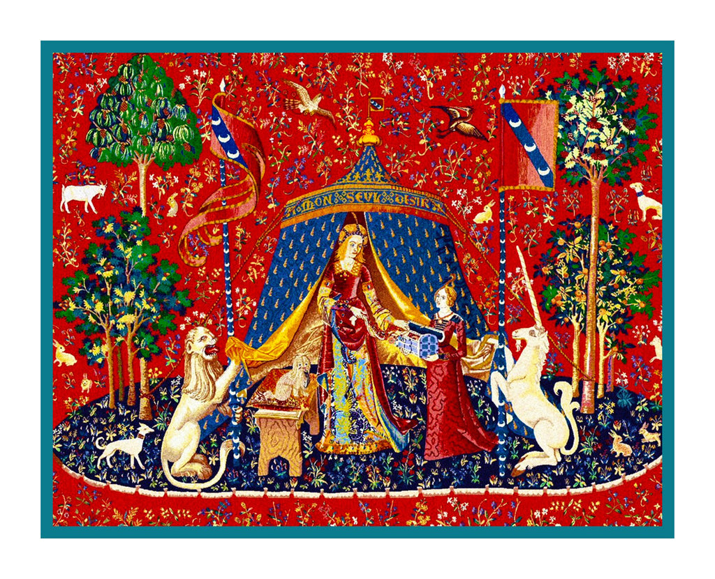 Desire Panel from the Lady and The Unicorn Tapestries Counted Cross Stitch  Pattern - Orenco Originals LLC