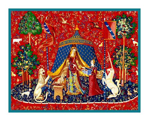 Desire Panel from the Lady and The Unicorn Tapestries Counted Cross Stitch Pattern Digital Download