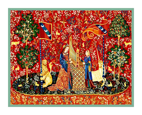 Hearing Panel from the Lady and The Unicorn Tapestries Counted Cross Stitch Pattern Digital Download