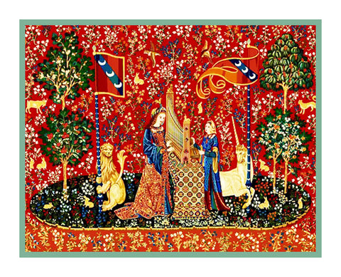 Hearing Panel from the Lady and The Unicorn Tapestries Counted Cross Stitch Pattern