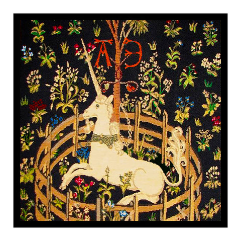 Unicorn in Captivity Black Background from The Hunt for the Unicorn Tapestries Counted Cross Stitch Pattern
