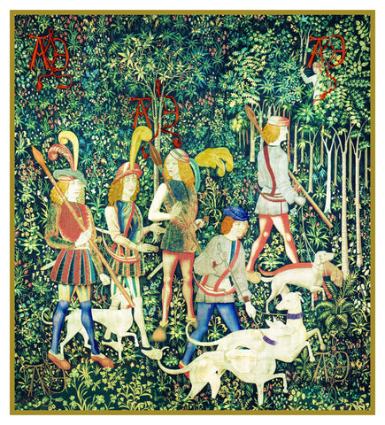 The Hunters Enter The Woods from The Hunt for the Unicorn Tapestries Counted Cross Stitch Pattern