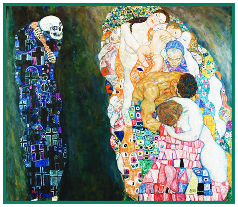 Gustav Klimt's LIFE and DEATH from Symbolist Art Counted Cross Stitch Pattern