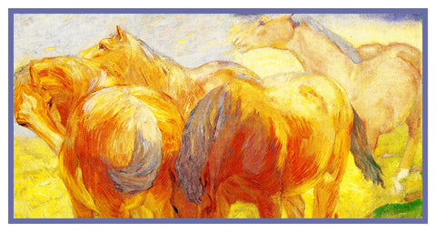 Sketch of Yellow Horses by Expressionist Artis Franz Marc Counted Cross Stitch or Counted Needlepoint Pattern