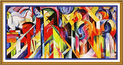 The Stables by Expressionist Artis Franz Marc Counted Cross Stitch or Counted Needlepoint Pattern