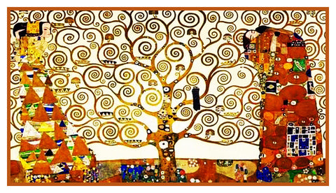 Symbolist Artist Gustav Klimt Tree of Life Counted Cross Stitch Chart Pattern