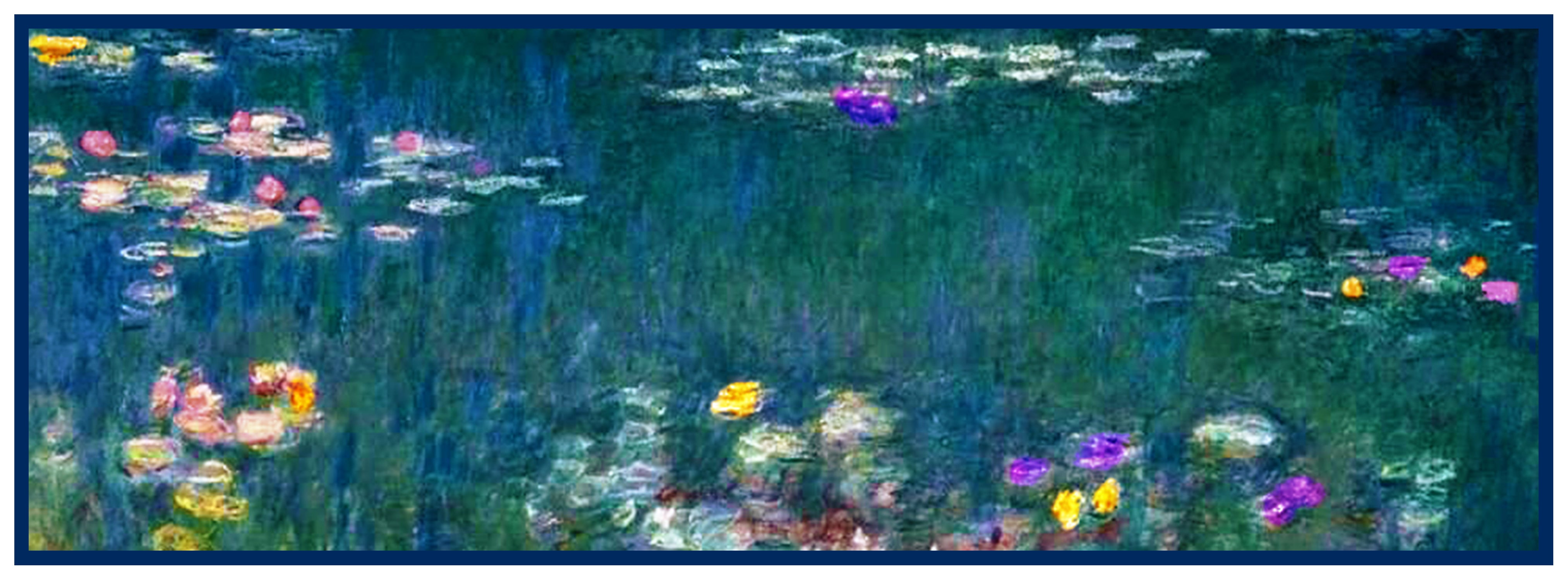 Impressionist Monet Water Lilies in blues Counted Cross Stitch Pattern