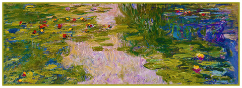 Water Lilies in Greens Runner inspired by Claude Monet's impressionist painting Counted Cross Stitch Pattern