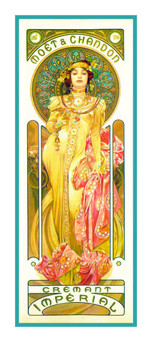 Moet Chandon Advertising by Alphonse Mucha Counted Cross Stitch Pattern