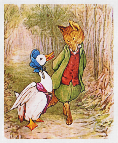 Jemima Puddle Duck and Fox Take a Walk inspired by Beatrix Potter Counted Cross Stitch Pattern