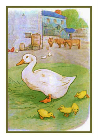 Jemima Puddleduck with her Babies inspired by Beatrix Potter Counted Cross Stitch Pattern Digital Download