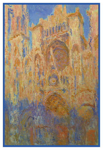 Rouen Cathedral France inspired by Claude Monet's impressionist painting Counted Cross Stitch or Counted Needlepoint Pattern