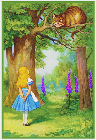 Tenniel's illustration of Alice and the Cheshire cat from Alice's Adventures in Wonderland Counted Cross Stitch Pattern DIGITAL DOWNLOAD