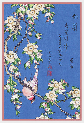 Asian Japanese Bullfinch Cherry Blossoms by Hokusai Counted Cross Stitch Pattern