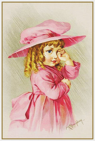 Young Girl in a Pink Hat Coat by Maud Humphrey Bogart Counted Cross Stitch Pattern