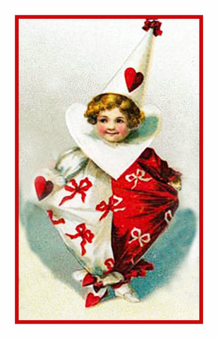 Valentine Cherub Red and White Hearts Counted Cross Stitch Pattern