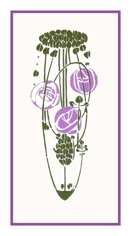 Charles Rennie Mackintosh's Lavender Rose Flowers Counted Cross Stitch Pattern DIGITAL DOWNLOAD