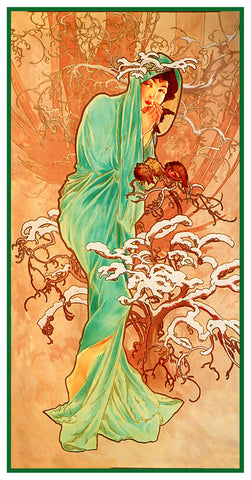 The Seasons Winter by Alphonse Mucha Counted Cross Stitch Pattern DIGITAL DOWNLOAD