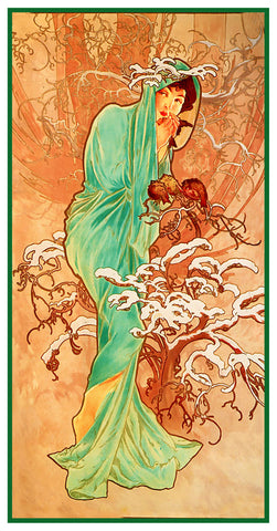 The Seasons Winter by Alphonse Mucha Counted Cross Stitch Pattern