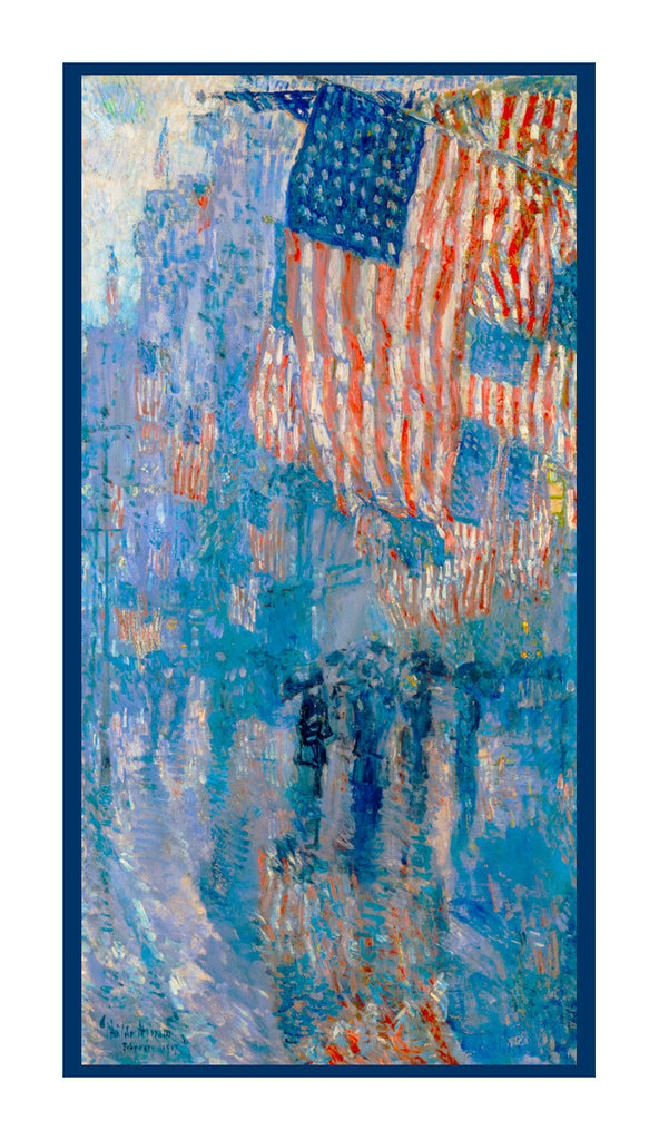 Avenue in Rain Flags by American Impressionist Painter Childe Hassam Counted Cross Stitch or Counted Needlepoint Pattern