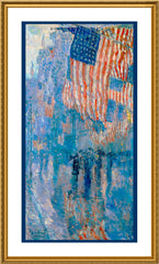 Avenue in Rain Flags by American Impressionist Painter Childe Hassam Counted Cross Stitch  Pattern - Orenco Originals LLC