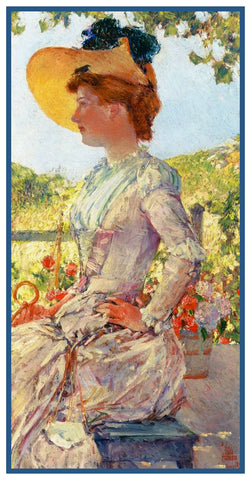 Portrait of a Lady Evelyn by American Impressionist Painter Childe Hassam Counted Cross Stitch Pattern