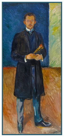 Edvard Munch with Brushes by Symbolist Artist Edvard Munch Counted Cross Stitch or Counted Needlepoint Pattern