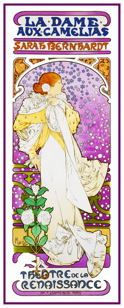 La Dame Aux Camelia by Alphonse Mucha Counted Cross Stitch Pattern